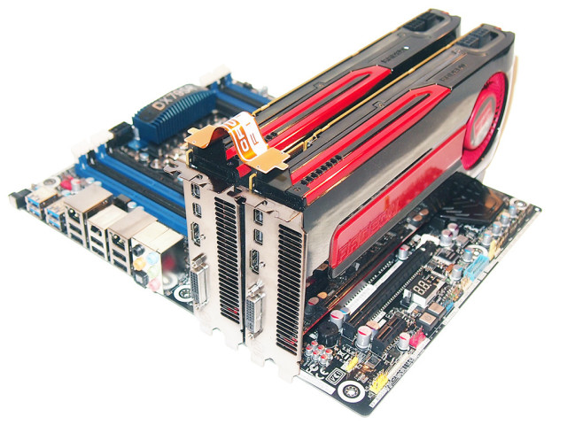 Two Crossfire graphics cards connected together, via pcworld.com