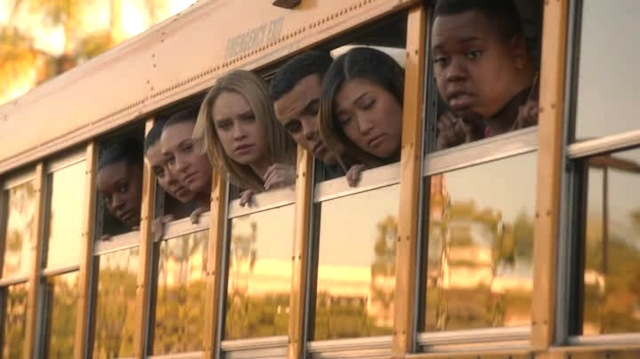 Alas, only Kitty and the girl in the back were aware that they were about to face their deaths in this school bus themed guillietene