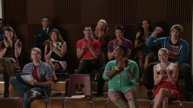 The children were full of cheer but Santana was in the back, praying for their sinful soals