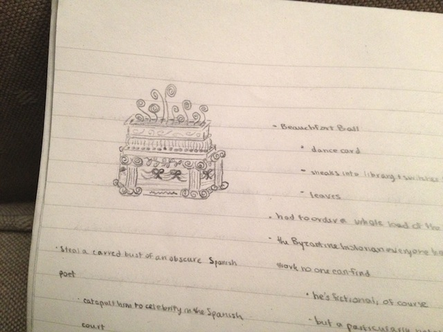 On the right side of the page are plans for the Regency romance novel I have yet to write.