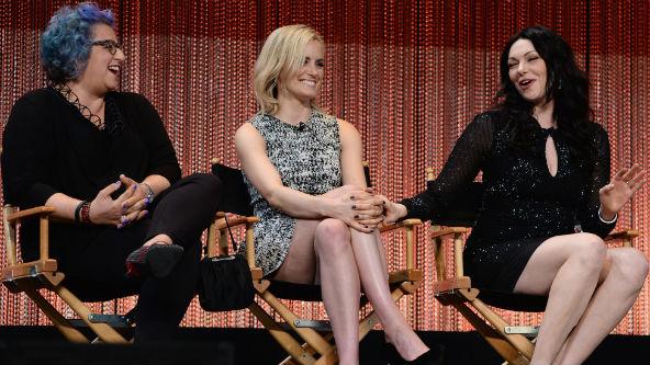 Jenji Kohan, Taylor Schilling and Laura Prepon via pop 2 it