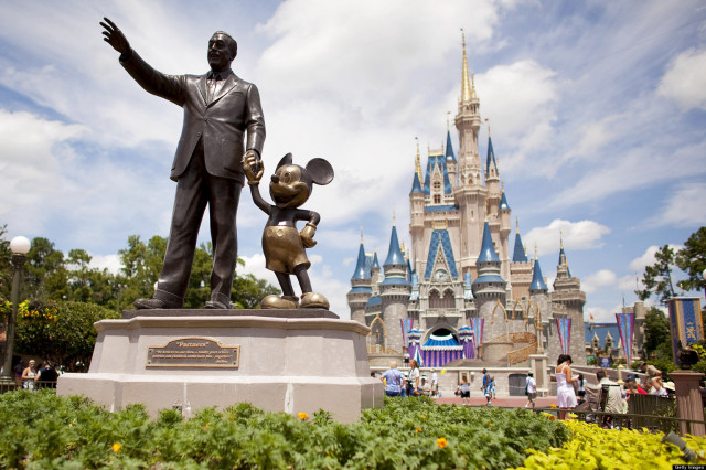 Partners, a statue of Walt Disney and Mickey Mouse, sits i