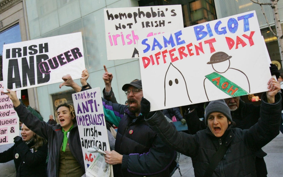 Protesters in 2006 demonstrating against the exclusion of Irish and Irish-American gay people from marching in New York's St. Patrick's Day Parade. Photo by Dima Gavrysh/AP Photo via Al Jazeera America.