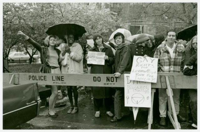 Sylvia Rivera and Marsha P. Johnson (far left) via Transgriot