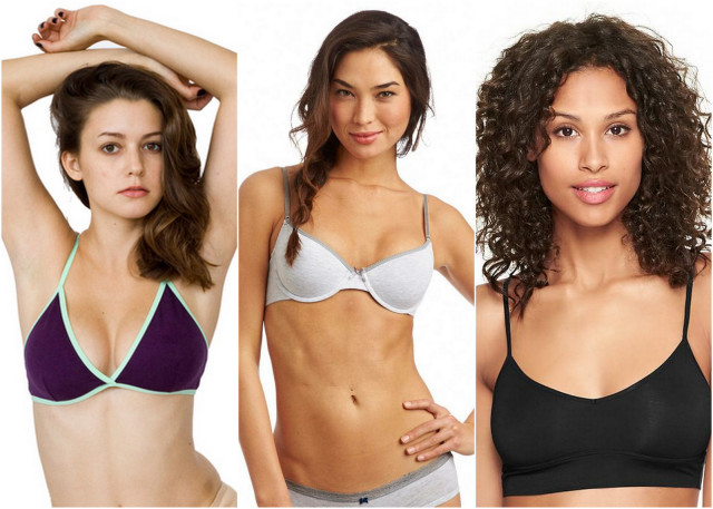 American Apparel Cotton Spandex Jersey Crossback Bra. aerie Hannah multi-way bra. Gap