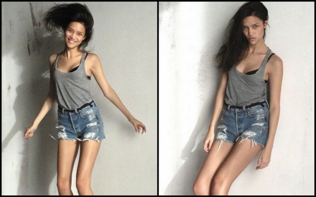 Model Charlotte Carey is a size AA