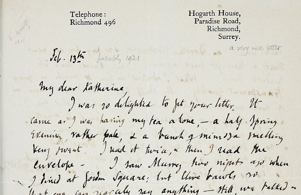 I spy at least two dashes in the opening of this letter to Katherine Mansfield from Virginia Woolf. (Via Smith College)