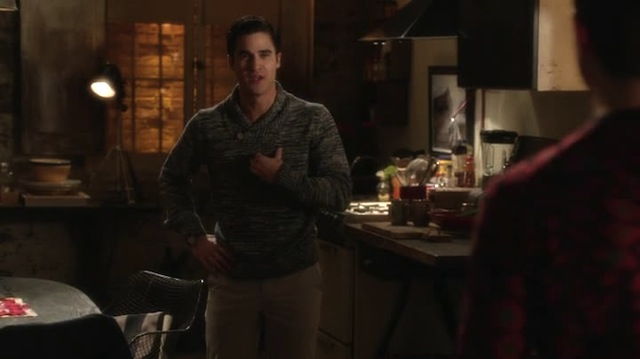 I mean, I bought the sex swing. I did that, Kurt. I did that for you — no. I did that for US. And you won't even let me hang it up in the kitchen, it's like you're embarrassed by your own kinky desires and also don't recognize that the sex swing could very much double as an indoor hammock for your roommate Rachel Berry, who I think we both can agree could use a little downtime these days.
