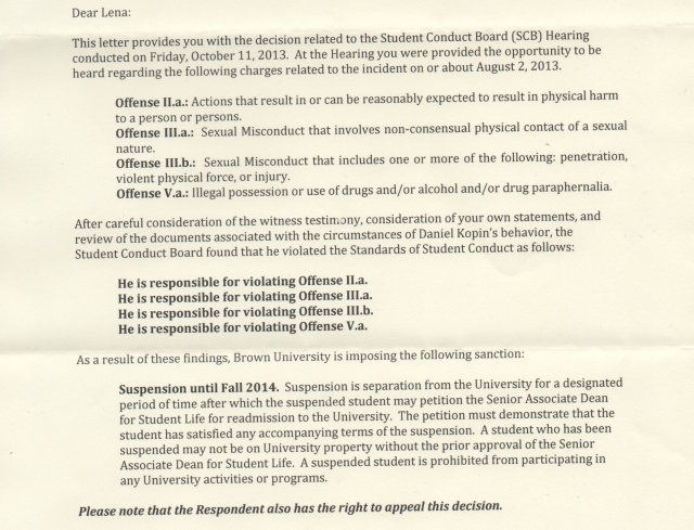 Lena forwarded the official documents sent to her in response to her student conduct board hearing