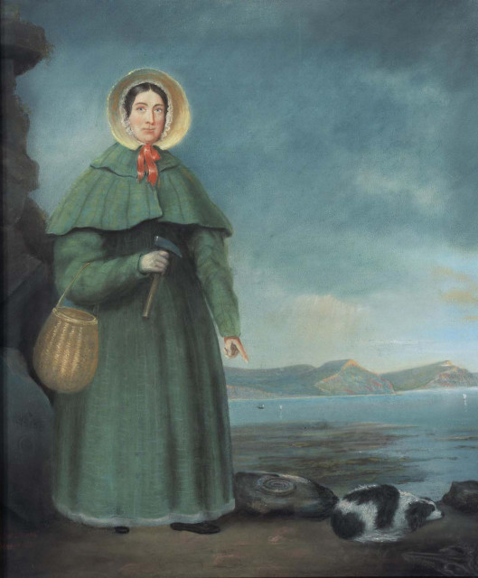 Mary Anning and her weird dog. via Wikipedia