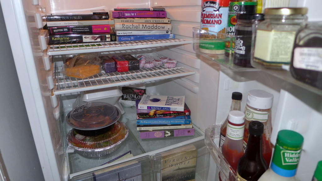 books in a fridge