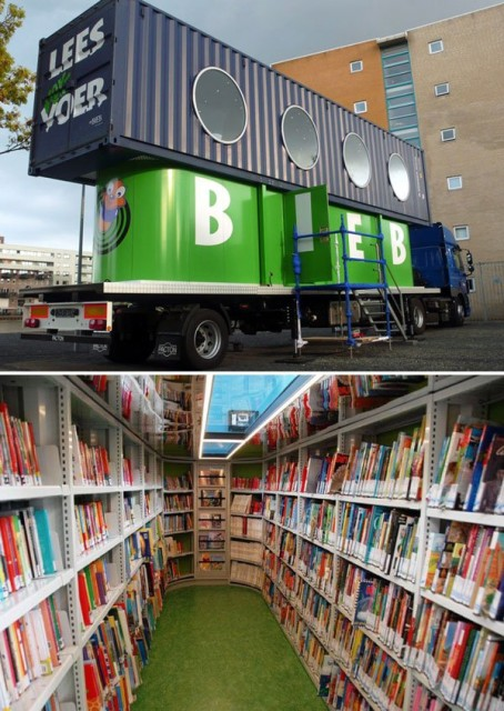 """BiebBus, a Dutch mobile library for kids built out of an old shipping container"" via inhabitant"