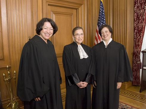 Justices Sonia Sotomayor, Ruth Bader Ginsburg and Elena Kagan await Kagan's Investiture Ceremony at the. By Steve Petteway, Supreme Court, via AP