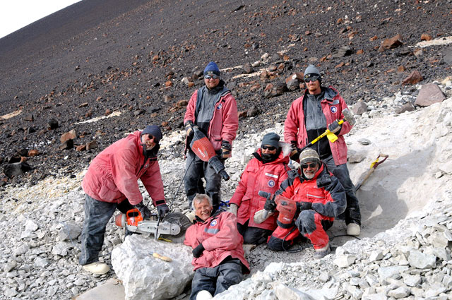 A team unearthing dinosaur fossils in Antarctica. via The Antarctic Sun