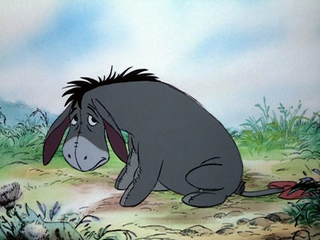 Only in animated donkey form can pessimism be so adorable. (Via Disney)