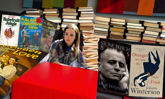 Ellen Page in a book fort