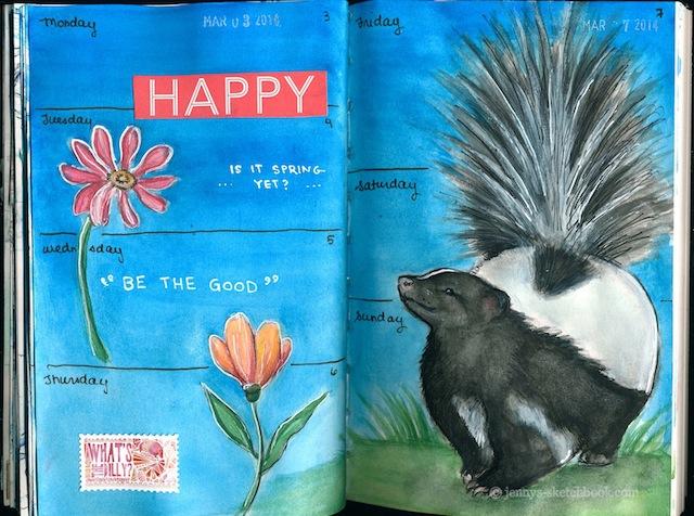 This skunk is happy! (Via Jenny's Sketchbook)