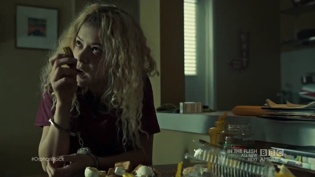 Helena doing her best impression of a garbage disposal.