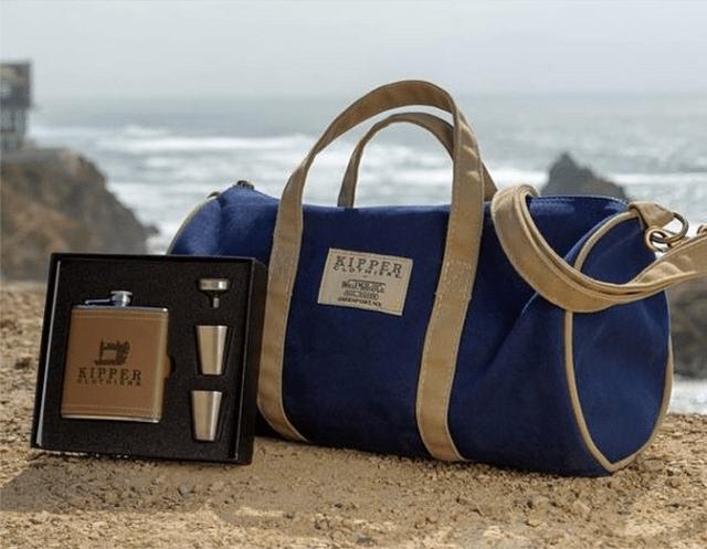 WM. J. Mills vintage-inspired day bag and flask set