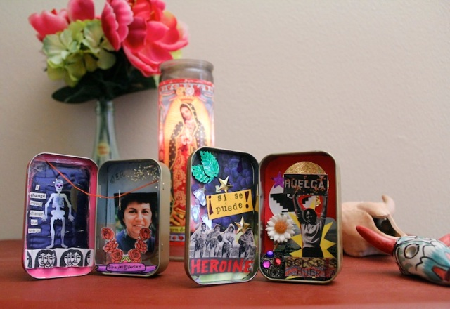 Yvonne's awesome mini-shrines from last week's Make a Thing!