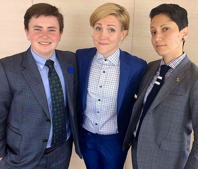 Hannah Hart rocking an amazing blue suit with Erin and Kyle of Kipper Clothiers