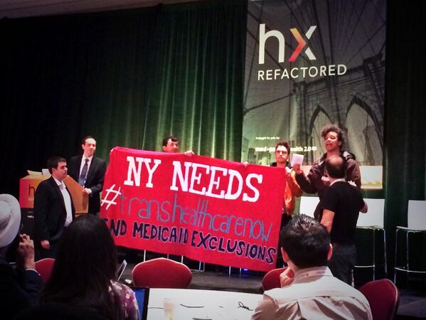Activists take the stage during NY State Health Commissioner's Speech at HxR Conference in May. via @ericachain