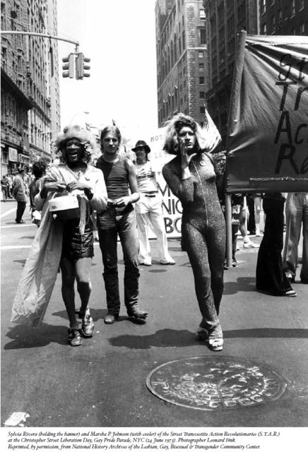 Marsha P. Johnson, Sylvia Rivera and others marching. via masstpc.org
