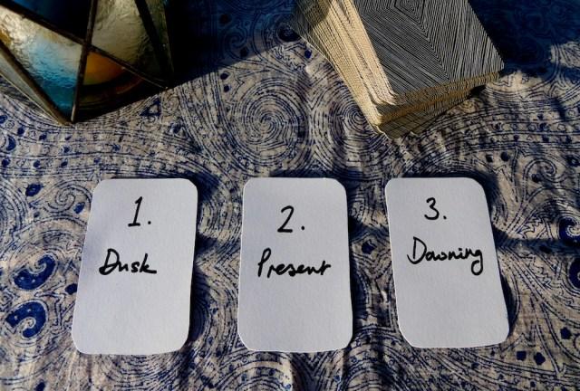 1. Dusk / 2. Present / 3. Dawning.  Via littleredtarot.com