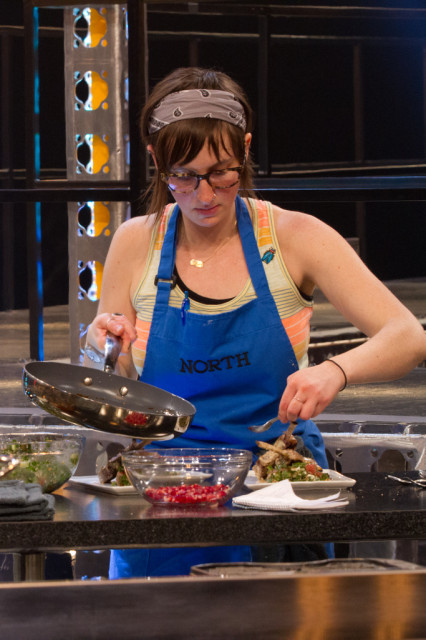Stephanie prepares her dish during the final round of competition.