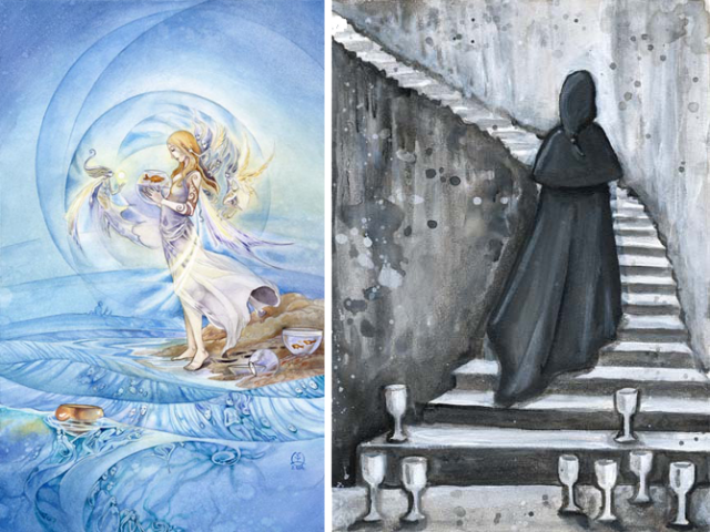 The Five of Cups from the Shadowscapes Tarot and the Eight of Cups from the Phantomwise Tarot