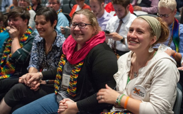 Folks react to the PCUSA vote on Thursday. Photo by Ray Bagnuolo