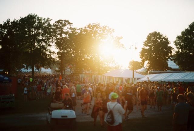 Many folks at sunset.