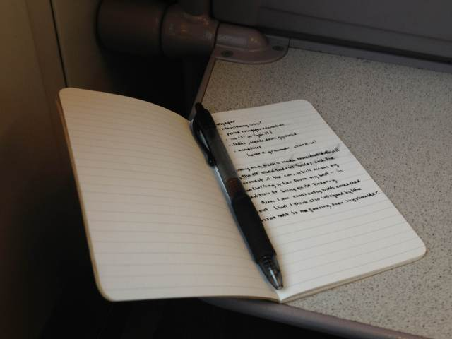 The only thing worse for my pen(wo)manship than a train is a bus.