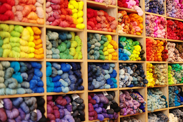 Purl Soho yarn wall via Uppercase Magazine