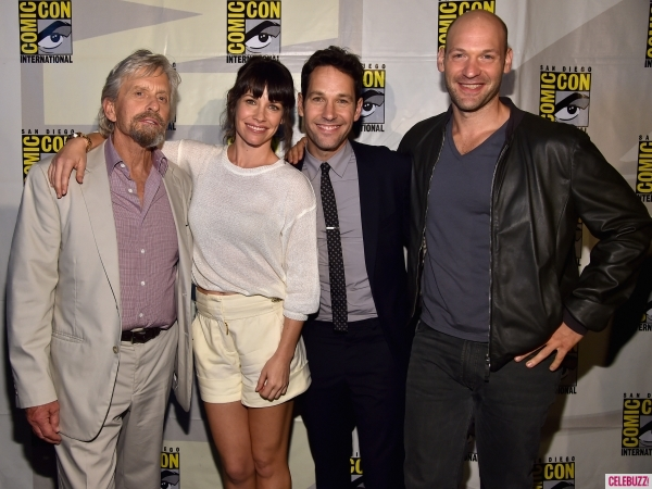 Evangeline Lilly with the cast of Ant-Man via Celebuzz