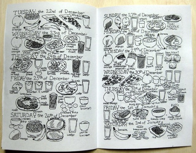 This awesome zine contains five months of the author's meals—illustrated! (Via dethpsun)