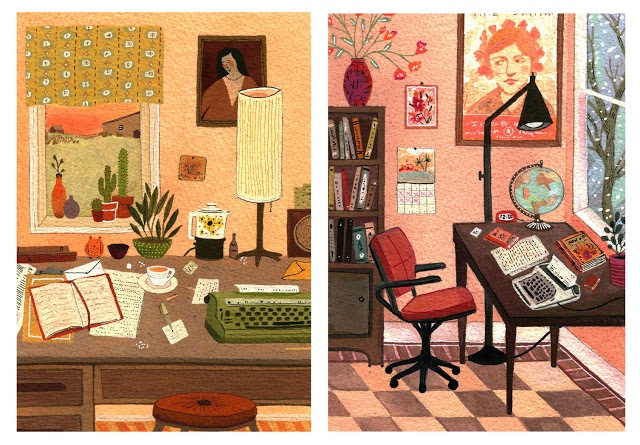 These illustrations from a Spanish-language version of A Room of One's Own totally rock my socks off. (Via Becca Stadtlander)