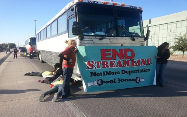 Activists stop buses bound for Operation Streamline, fast-tracked deportation proceedings. via Al Jazeera