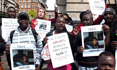 Activists rallied in May in support of Aidah Asaba, a Ugandan woman whose asylum application failed because courts did not believe she was a lesbian, with her having been married to an abusive male partner via The Guardian