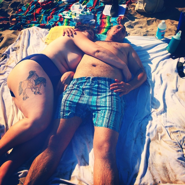We lay on the beach and we talk to each other and make space for each other, literally and figuratively