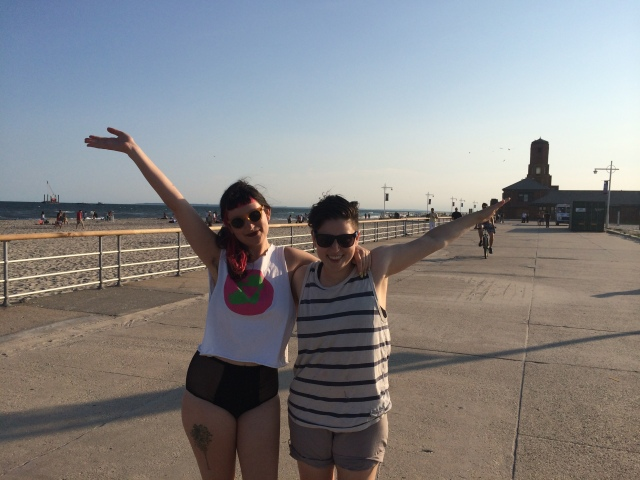 Talking critically about Pride. Just kidding, I don't know what we're doing. Sarah's gesturing towards the ocean and I'm flying somewhere.
