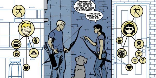 From Hawkeye #11 art by David Aja