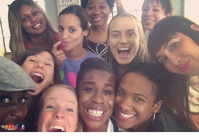 The Orange is the New Black cast celebrating their Emmy nominations.