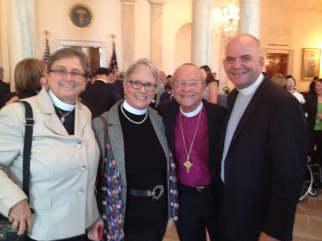 Queer and progressive faith leaders applauded Obama's executive order today, including his decision not to include a religious exemption. From left: Nancy Wilson, Susan Russell, Bishop Robinson and Harry Knox