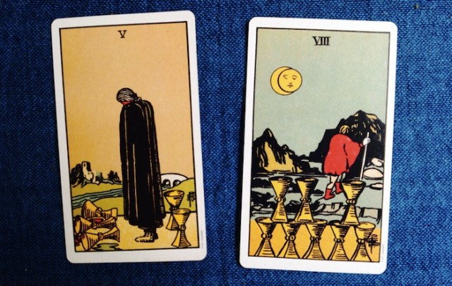 Five and Eight of Cups from the Rider-Waite-Smith Tarot