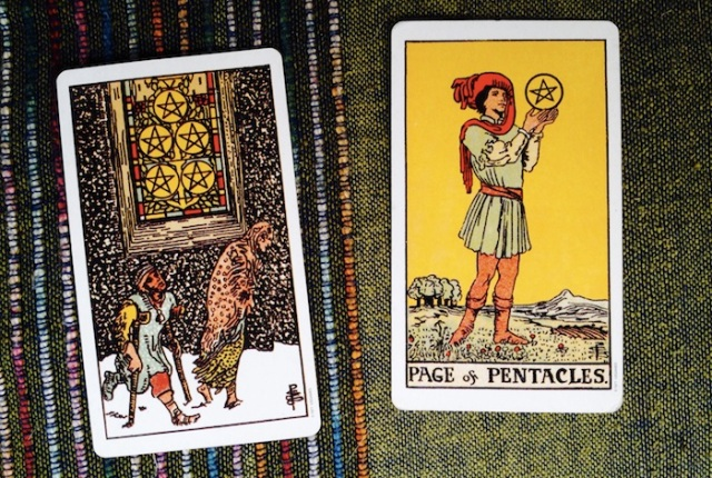 Five and Page of Pentacles from the Rider-Waite-Smith Tarot