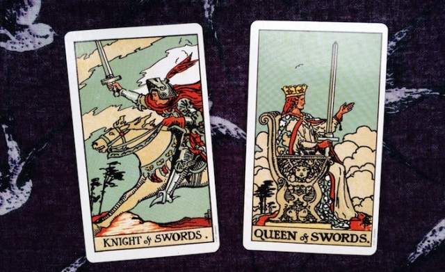 The Knight and Queen of Swords from the Rider-Waite-Smith Tarot