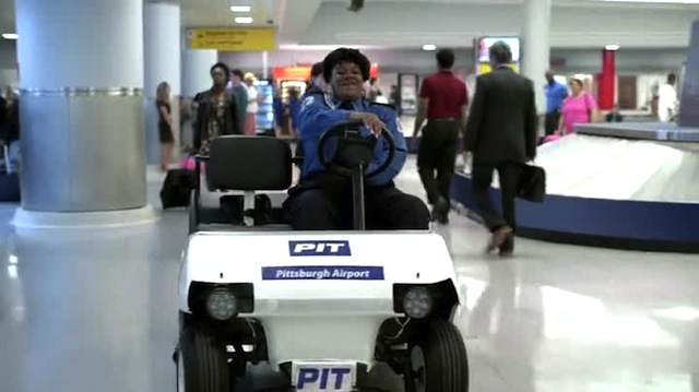 Happiness is a Pittsburgh Airport go-cart