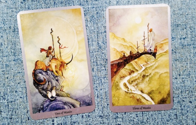 The Two and Three of Wands, from the Shadowscapes Tarot
