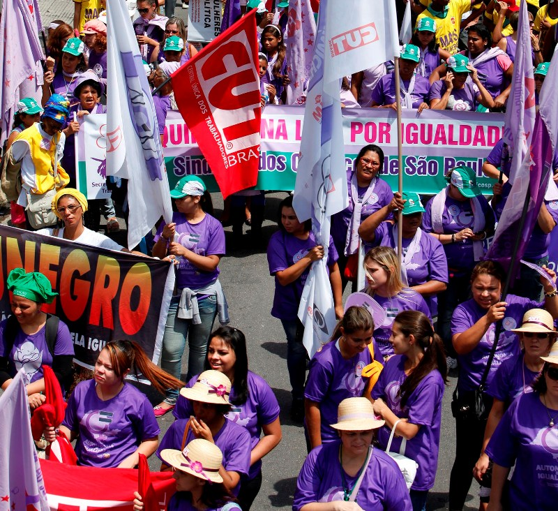 Protest with female workers from CUT via FETEMS.org